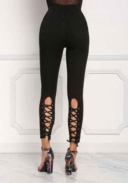 Black Back Lace Up Skinny Jeans