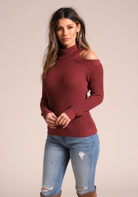 Mauve Mock Neck Cold Shoulder Sweater Top