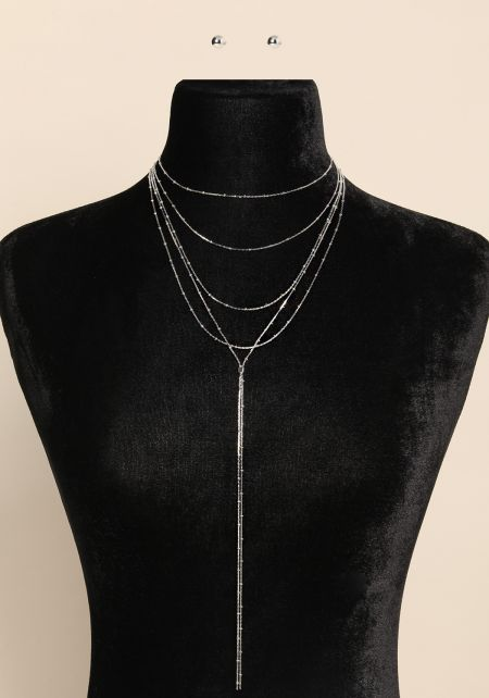 Silver Layered Drop Chain Necklace