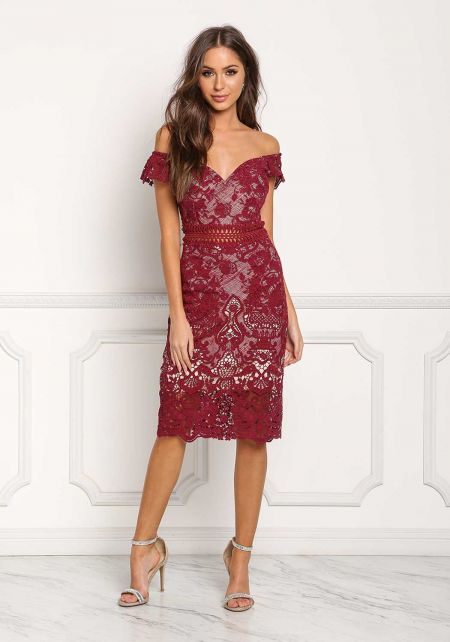Wine Sweetheart Floral Embroidered Dress