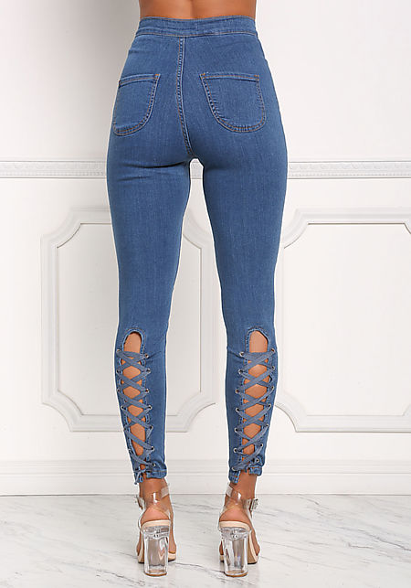 Denim Back Lace Up Skinny Jeans