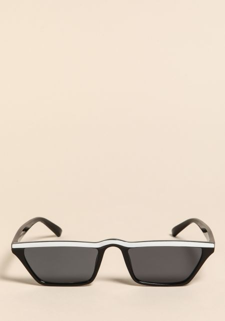 Black and WhiteStriped Rectangular Sunglasses