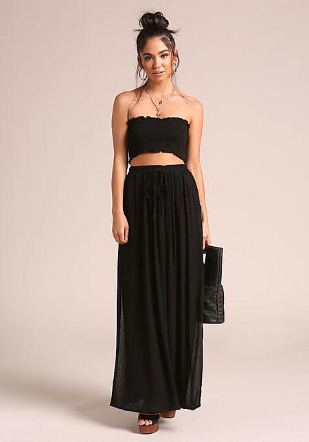 Black Crepe High Slit Pocket Maxi Skirt