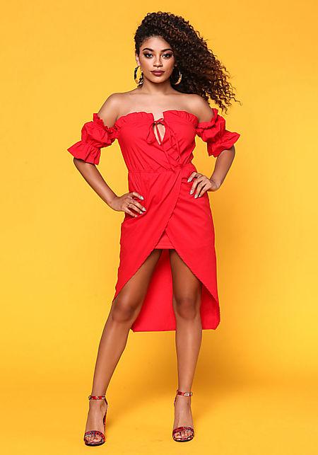 Red Off Shoulder Hi-Lo Surplice Dress