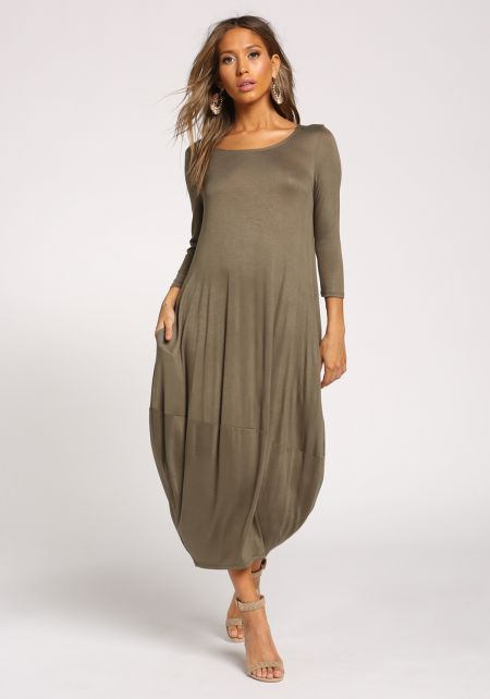 Olive Harem Jersey Knit Maxi Dress