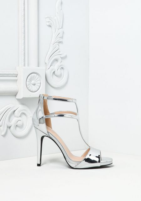 Silver Patent Leatherette Strappy Heels