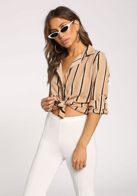 Taupe Stripe Hi-Lo Collared Blouse