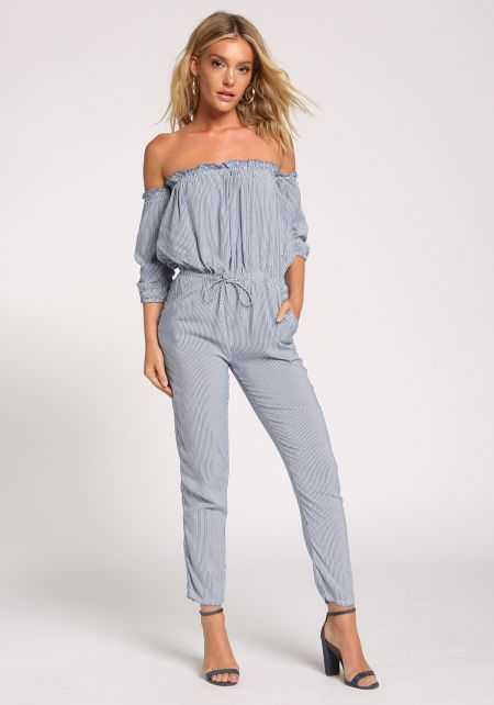 Blue Pinstripe Ruched Pocket Jumpsuit