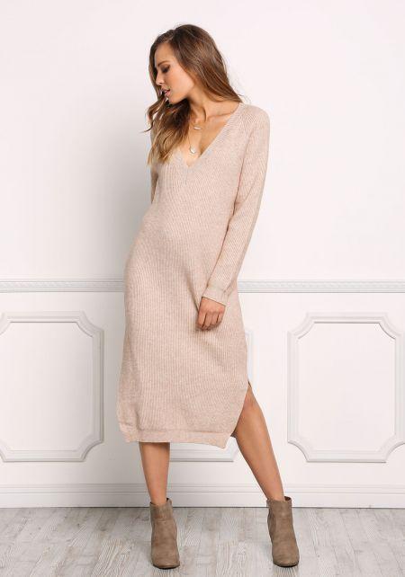 Latte Chunky Knit Shift Midi Dress