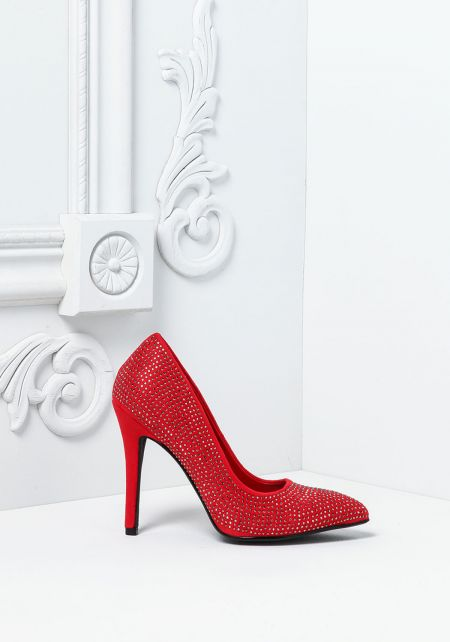 Red Rhinestone Pointed Toe Heels