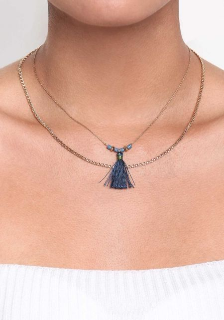 Blue Double Thin Chain Tassel Necklace