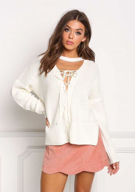 Ivory Thick Knit Plunge Lace Up Sweater Top