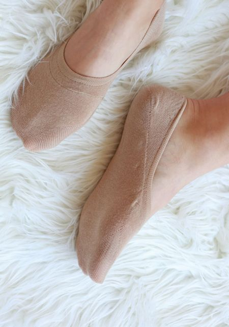 Taupe No Show Knit Socks