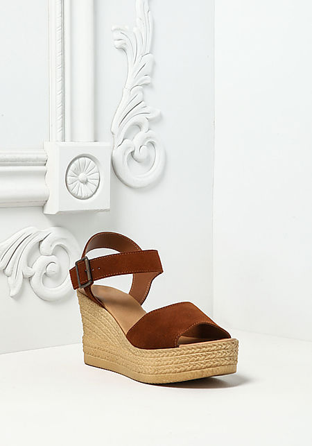 Brown Faux Suede Braided Wedges
