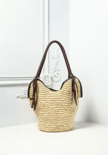 Natural Woven Braided Handle Bag