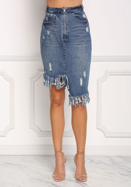 Denim Asymmetrical Fringe Zipper Skirt