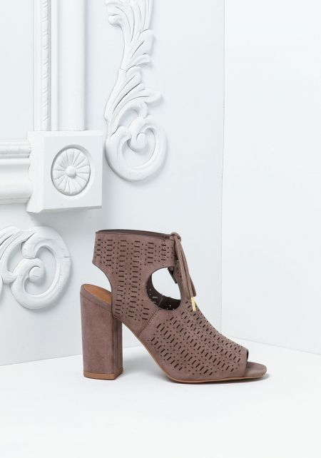 Taupe Suedette Laser Cut Stacked Heels