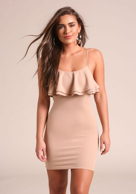 Taupe Ruffle Tiered Bodycon Dress