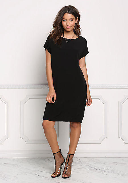 Black Pocket Front Shift Woven Dress