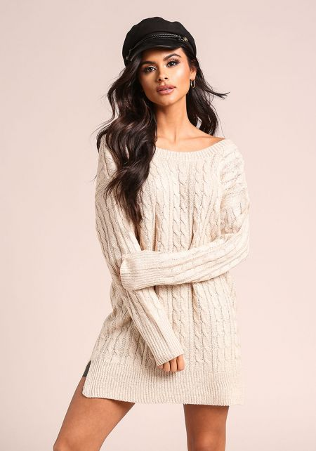 Sand Cable Knit V Back Tunic Sweater Top
