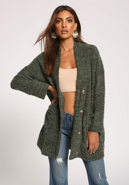Olive Button Front Pocket Cardigan