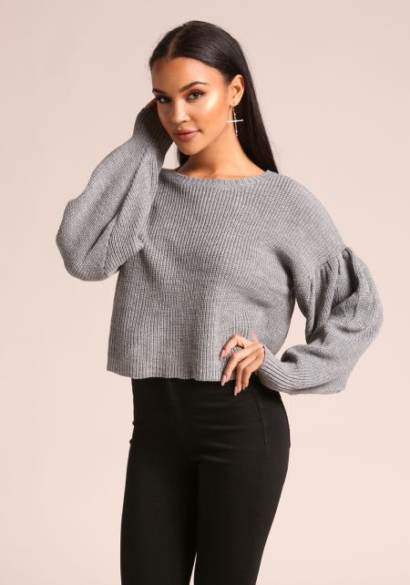 Heather Grey Puff Sleeve Cropped Sweater Top