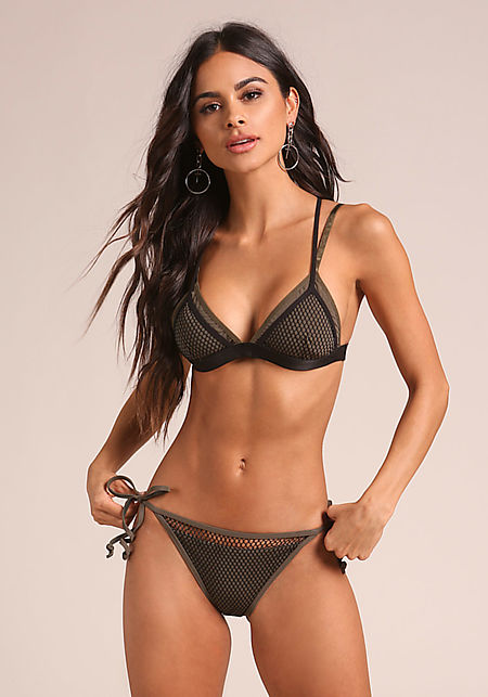 Olive Fishnet Side Tie Swimsuit Bikini Bottoms