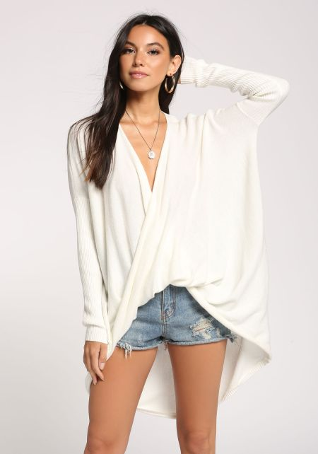 Off White Hi-Lo Sweater Knit Top