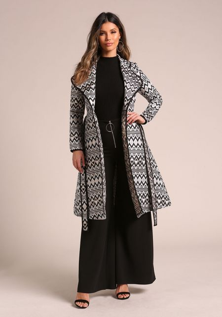 Multi Metallic Geometric Print Longlined Coat