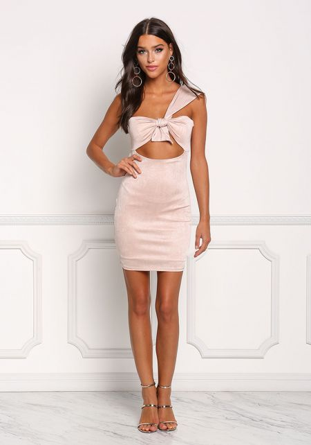 Blush One Shoulder Cut Out Bodycon Dress
