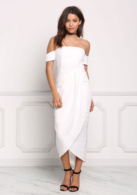 Ivory Off Shoulder Surplice Midi Dress