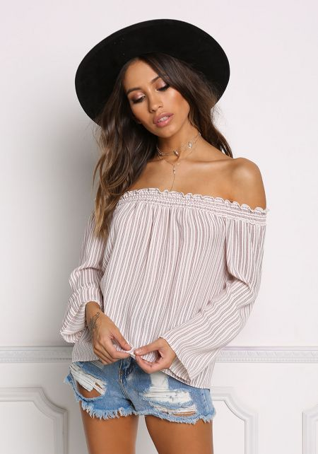 Ivory and Wine Pinstripe Off Shoulder Blouse