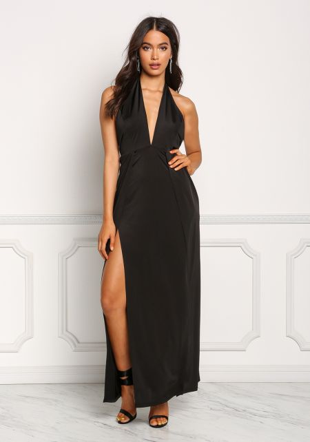 Black High Slit Halter Maxi Dress