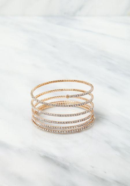 Gold Spiral Rhinestone Bracelet