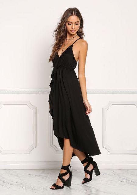 Black Jersey Knit Ruffle Shift Midi Dress