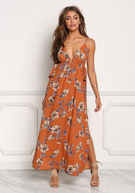 Rust Plunge Floral Tied Sides Maxi Dress