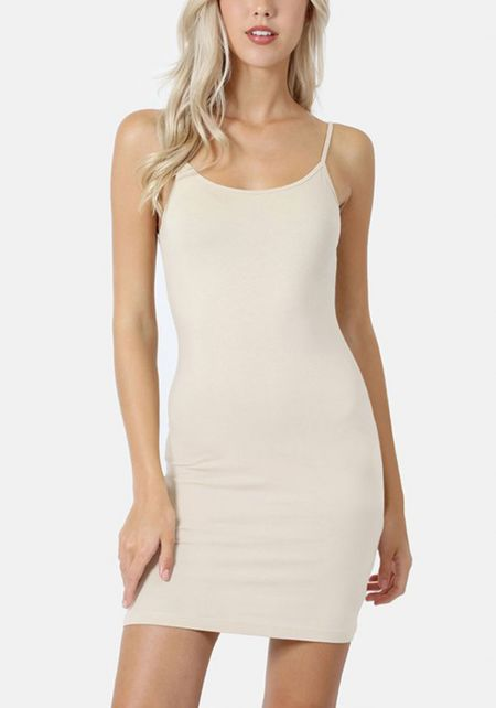 Taupe Jersey Knit Longlined Cami Tank Top