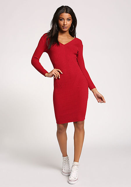Red V Neck Ribbed Knit Bodycon Dress