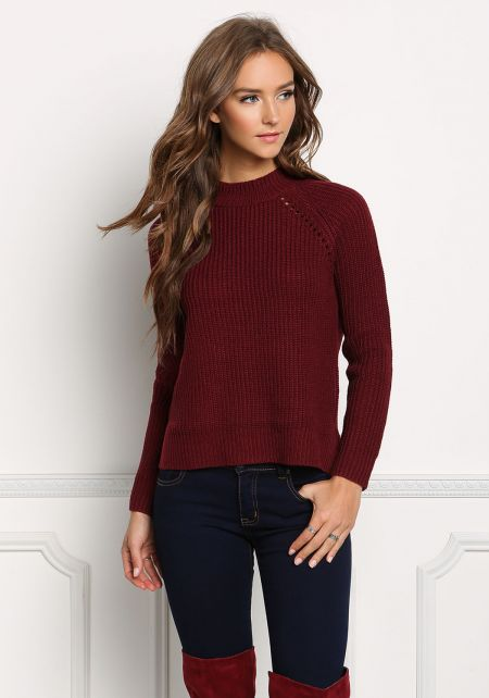 Burgundy Pullover Chunky Knit Sweater