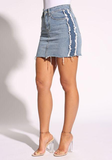 Denim Frayed Side Stripe Skirt