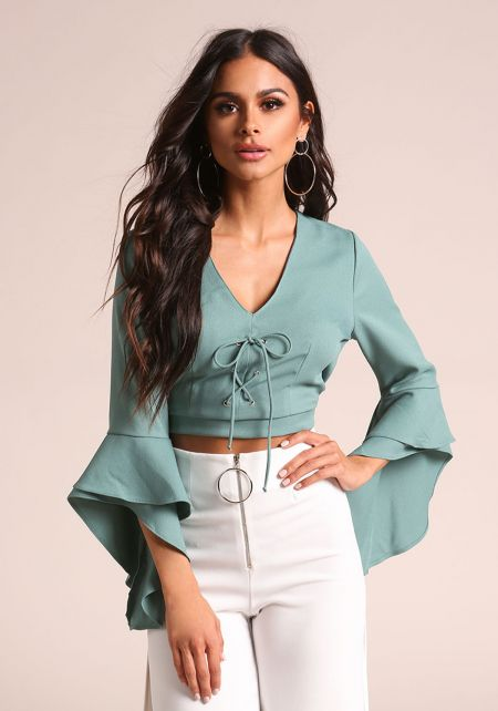Sea Green Lace Up Bell Sleeve Crop Top
