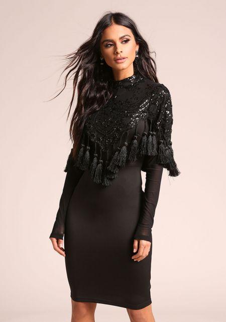 Black Sequin Tassel Bodycon Dress
