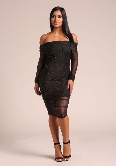 Black Mesh Rhinestone Off Shoulder Bodycon Dress