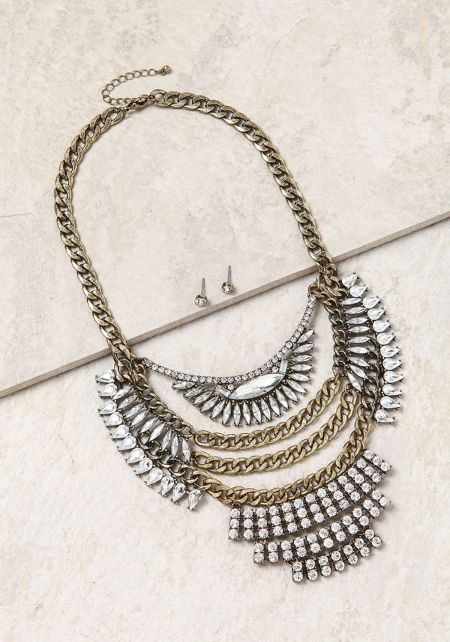 Bronze Thick Chain Rhinestone Statement Necklace