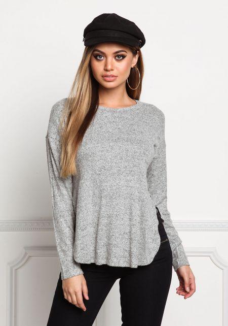 Heather Grey Soft Knit Marled Slit Top
