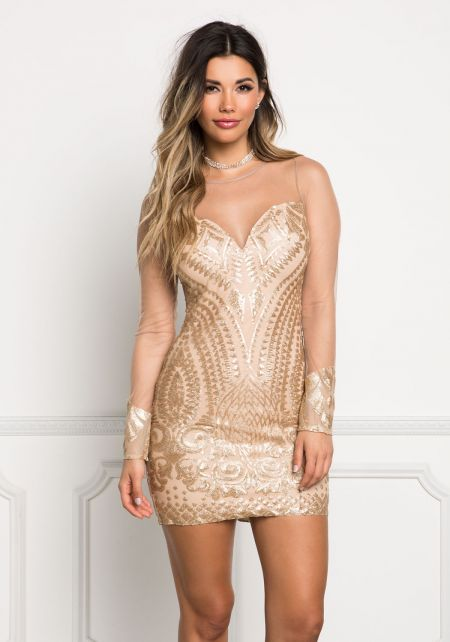 Gold Sequin Tulle Bodycon Dress