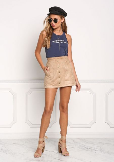 Taupe Suedette A-Line Mini Skirt