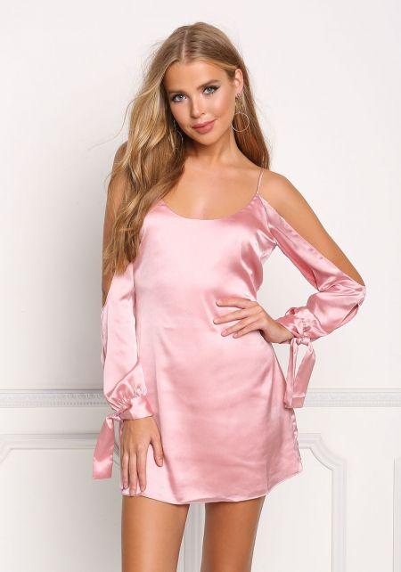 Pink Sleeve Cut Out Silky Shift Dress