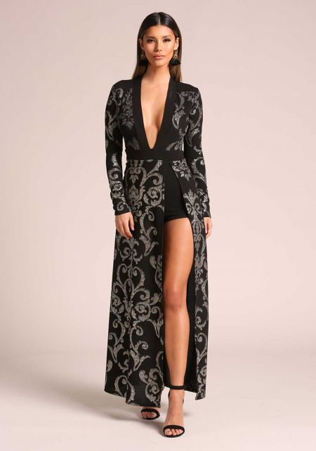Black and Silver Plunge High Slit Brocade Maxi Dre