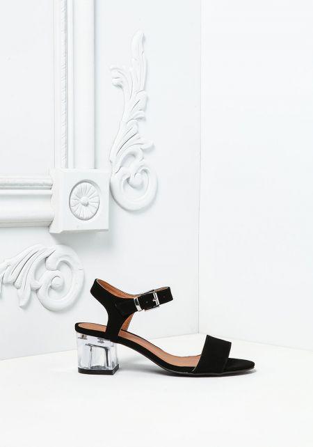 Black Suedette Clear Block Heels